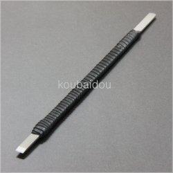 画像1: 手打ち 篆刻刀 福善 印刀 角型 革巻き 両刃 5mm 割込鍛造品