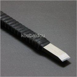 画像2: 手打ち 篆刻刀 福善 印刀 角型 革巻き 両刃 7mm 割込鍛造品